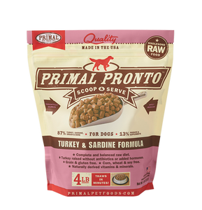 Primal Frozen Raw Dog Food- Pronto Turkey & Sardine