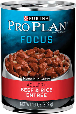 Pro Plan Focus Beef and Rice Adult 7+ Dog Canned