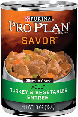 Pro Plan Savor Turkey and Vegetables Adult Dog Canned