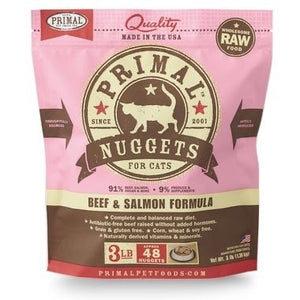 Primal Beef and Salmon Frozen Cat Nuggets
