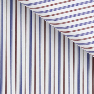 Emory - Blue and Brown Stripe Poplin