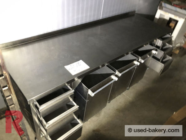 Bakeryworktable / -Bench About 250 Cm Incl. 3 Ingredient Flour Containers Workingbench