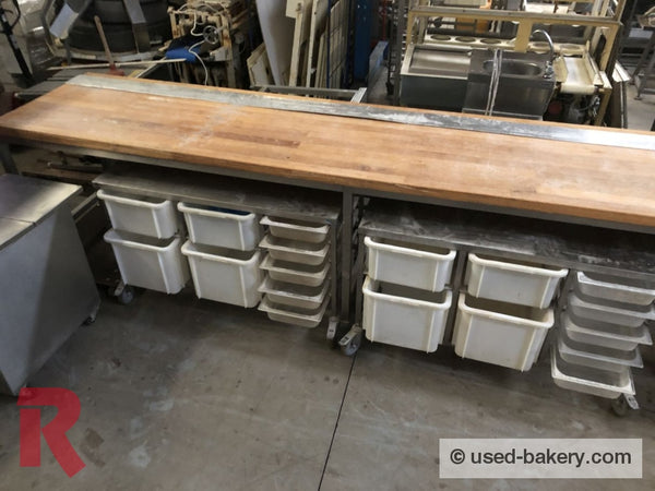 Bakeryworktable / -Bench About 400 Cm Incl. Various Ingredient Containers Workingbench