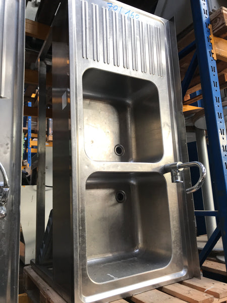 Commercial double sink made from stainless steel, about 160 x 70