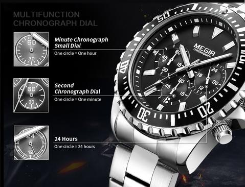 Men Luxury Analog Chronograph Quartz Wrist Watch