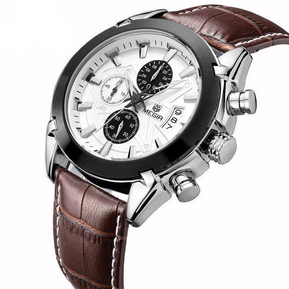 Men Luxury, Quartz  Chronograph 6 Hands Leather Watch