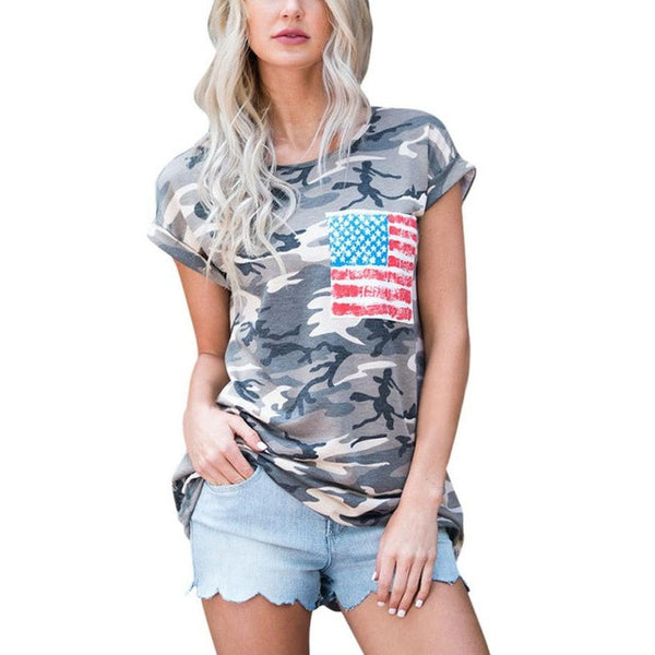 Women Short Sleeve Camouflage Military Army T Shirts