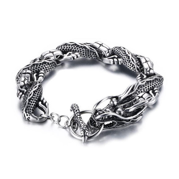 Men vintage dragon bracelet with stainless steel chain