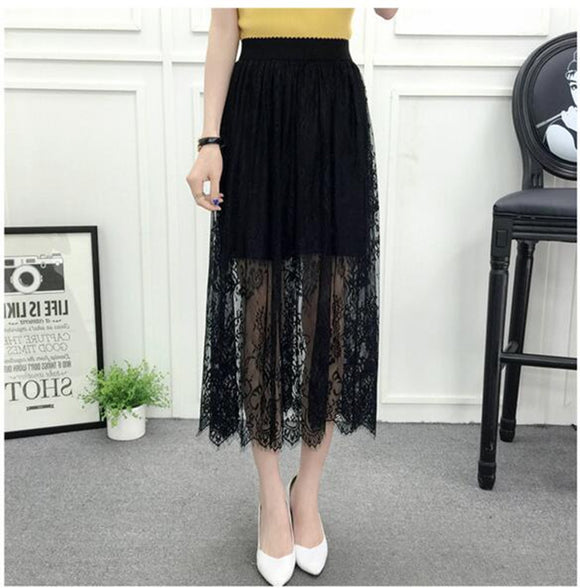 Spring Summer Women High Waist long lace skirts