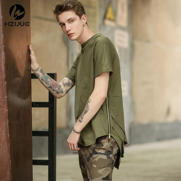Men Side Zipper Extended Hip Hop Long Casual T Shirt