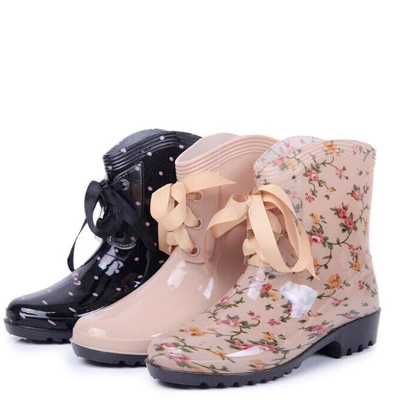 Women Floral Printed Lace-up Waterproof Rain Boots
