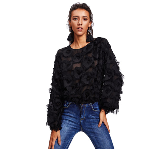 Black Fringe Patch Mesh Top Blouses