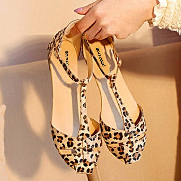 Women's Summer Beach Leopard Print Flat Sandals
