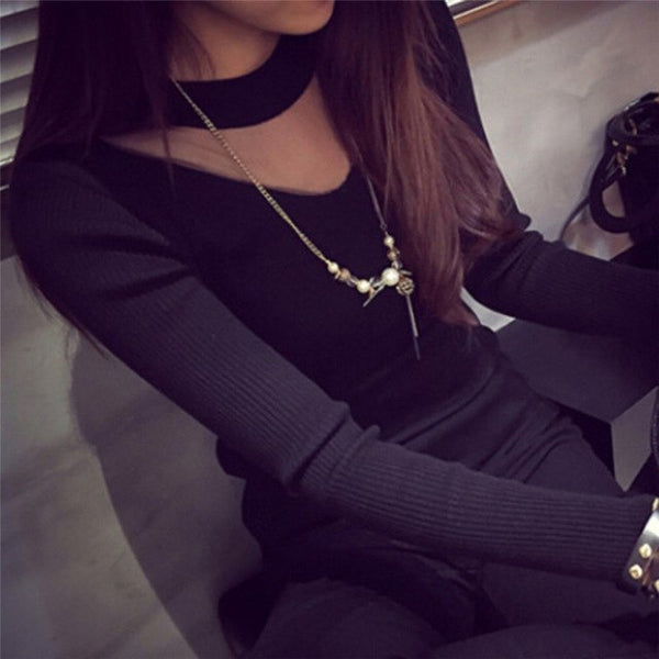 Women Sexy Long Sleeve Slim Mesh Sheer Knit Shirts