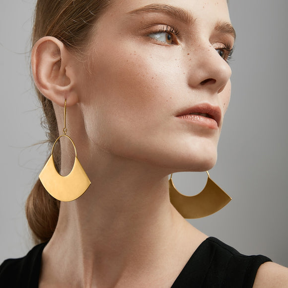Geometric Matte Gold Big Fan Earrings