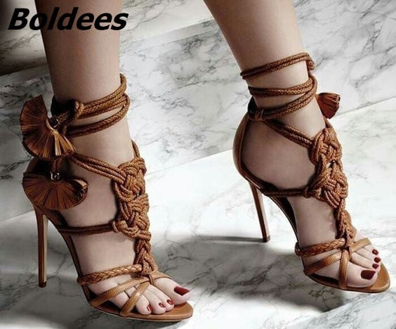 Thin Strappy Open Toe High Heels With Rope Fringe