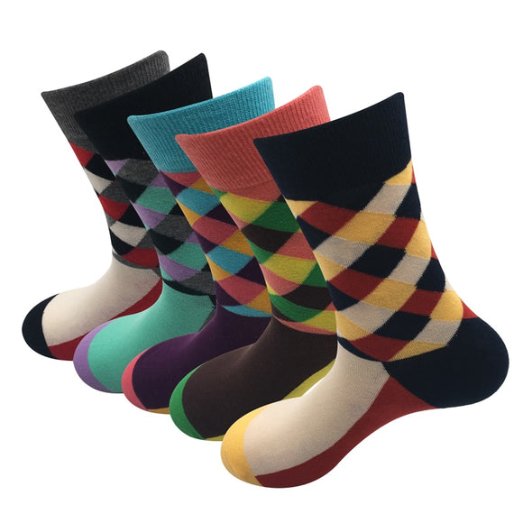 Men British style Harajuku Street fashion retro colors cotton socks
