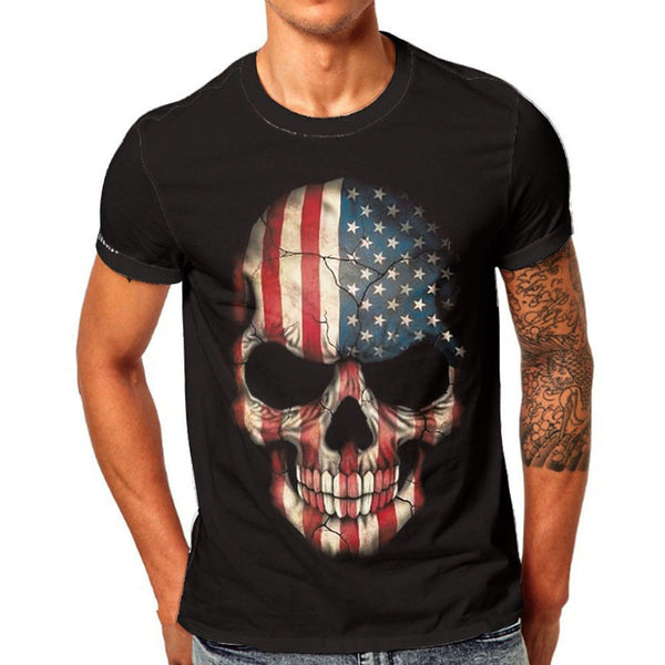 Mens Skull 3D Printing Short T- Shirt