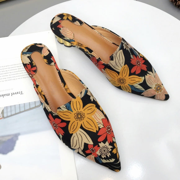 Women Bohemia Cloth Flowers Summer Slides Mules