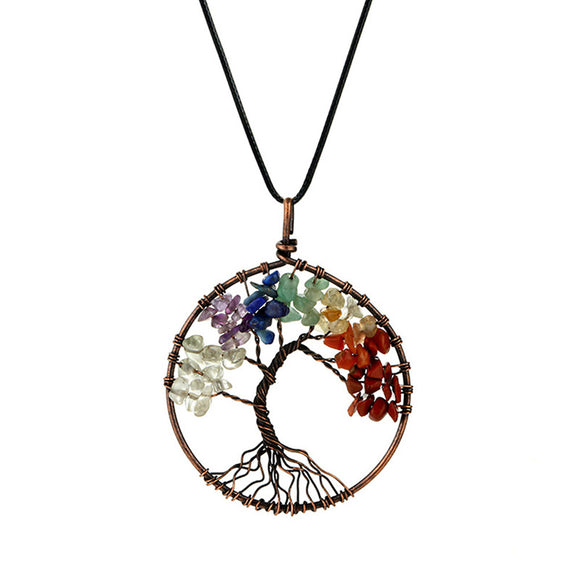 Natural Colorful Stone Tree of Life Pendant