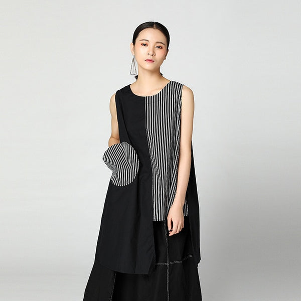 Striped Irregular Hem Sleeveless Shirt