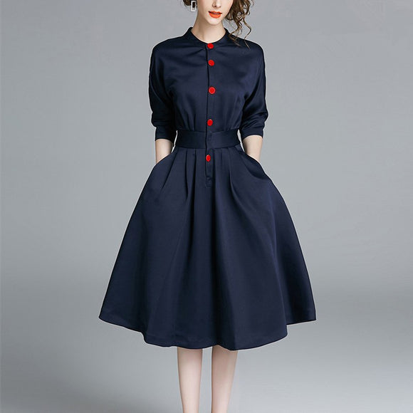 Solid Color Vintage Button Slim Waist Dresses