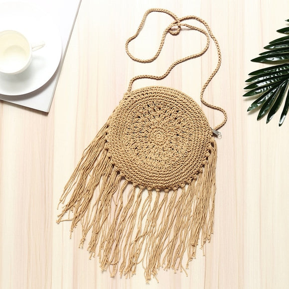 Women Round Straw Tassel Decorate Rattan Bag