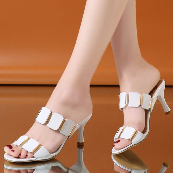 Woman Open Toe High Heels Slippers