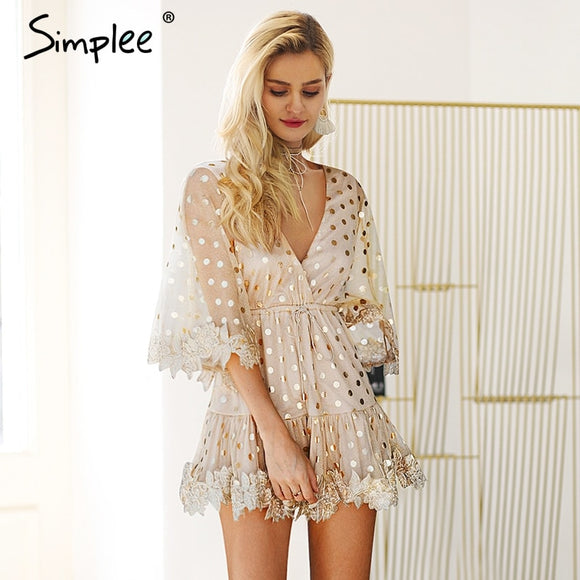 Dot Sequin Backless Mesh Flare Embroidery Sleeve Mini Dress