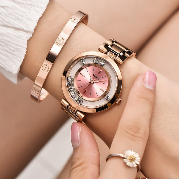 Luxury Rose Gold Stainless Steel Ball Rhinestone Watches