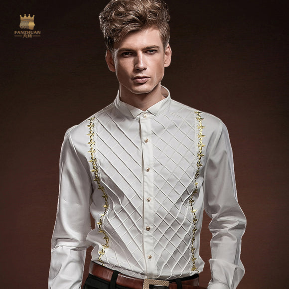 Men's Embroidery White Slim Plaid Dress Shirt