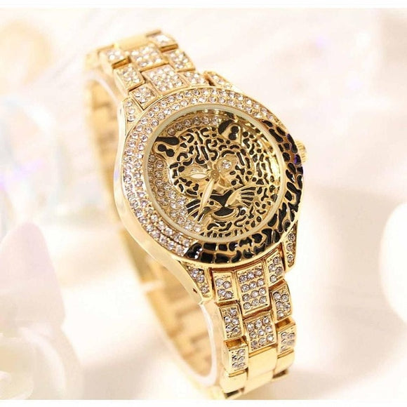 Women  Leopard Rhinestone Bracelet Dress Watch