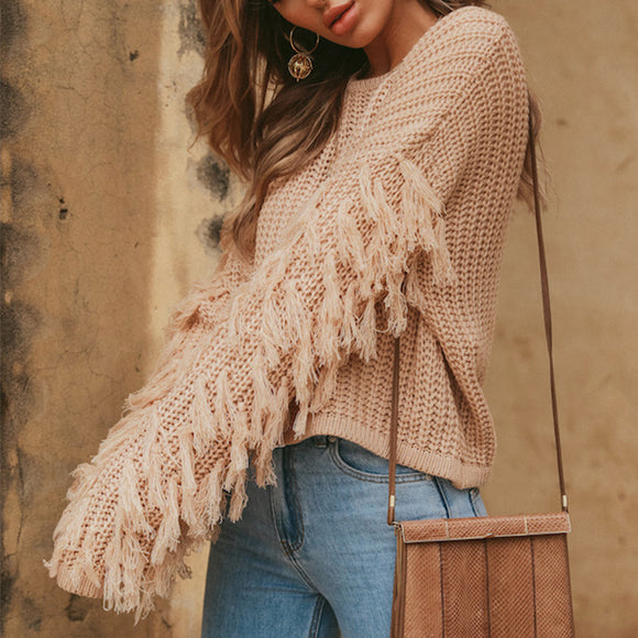 Knitted Tassel Pullover Sweaters