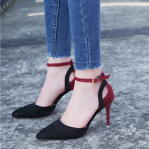 Women Two Tone Buckle Strap Pumps High Heels