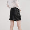 High Waist PU Faux Leather Black Mini Skirt