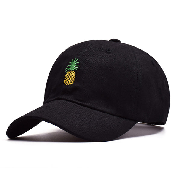 Pineapple Embroidery Twill Cotton Peaked Baseball Cap