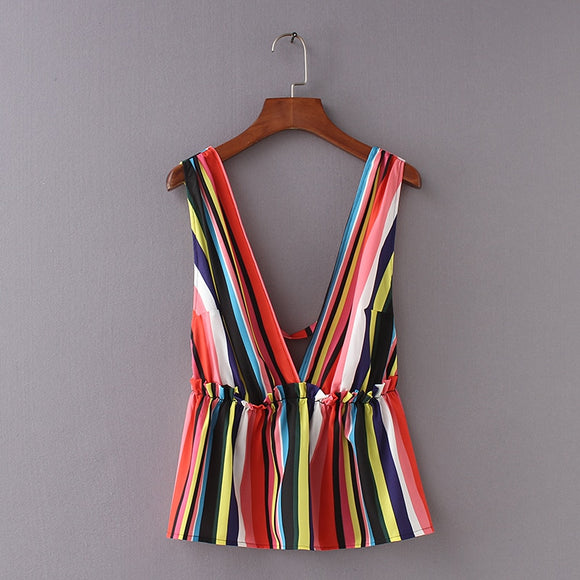 Women sexy deep v neck colorful striped ruffles blouse