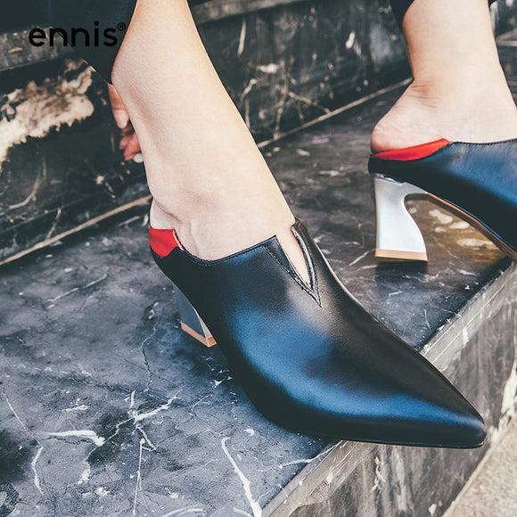 Women Genuine Leather  Pointed Toe Slip On High Heels