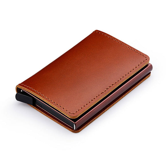 Men 100% Genuine Leather Aluminum Metal Credit Business Card Holder Wallet