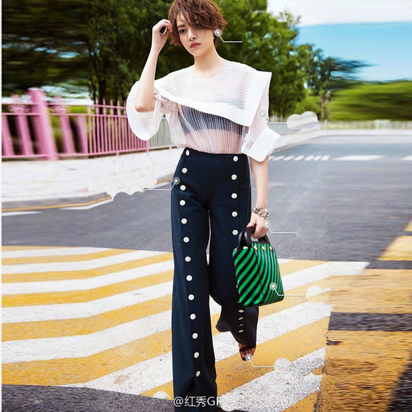 Runway Slit Buttons Straight Pants
