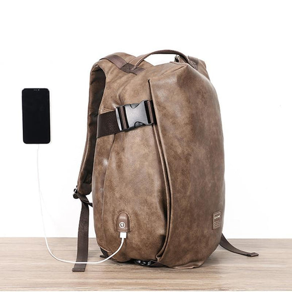 Men PU Leather Vintage Waterproof Laptop Backpack