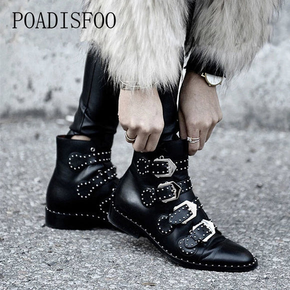 Woman Buckles Low Heeled Black Ankle Boots