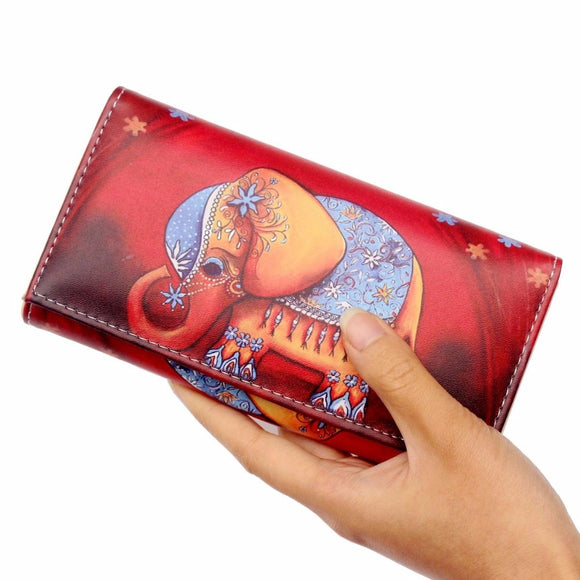 Women Cute picture print Leather long Wallet Purses