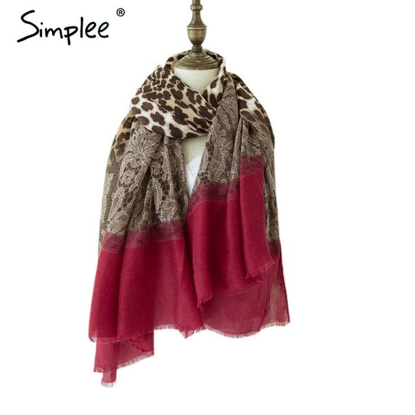 Luxury Leopard Lace Splice Square Scarf