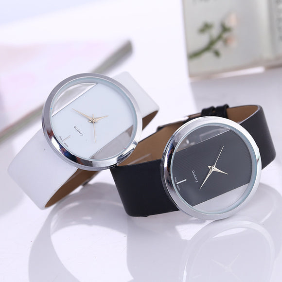 Women Analog Quartz Transparent Dial Hollow Out Wrist Watch