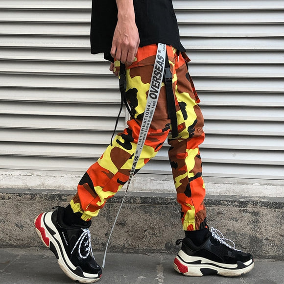 Elastic Waist Camouflage Cargo Pants With Belt
