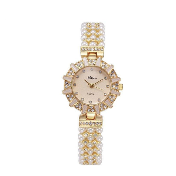 Women Pearl Diamond Rhinestone Quartz Bracelet Watches