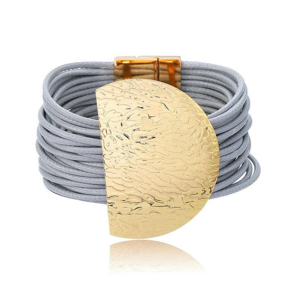 Grey Leather Rope Chain With Wide Big Half Circle Metal Charm