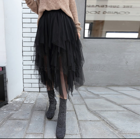 Asymmetrical Irregular Lace Pleated Skirts