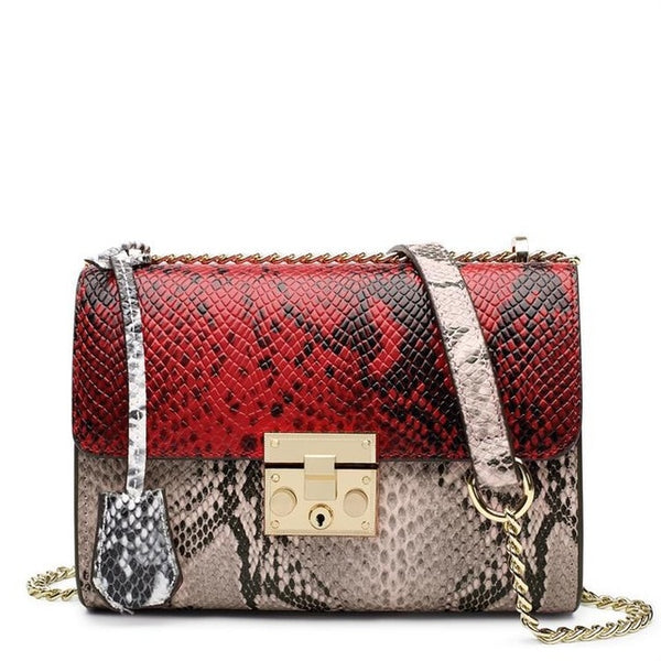 Genuine Cow Leather Embossed Crossbody Chain Handbag